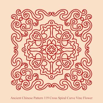 크로스 나선형 곡선 덩굴 꽃의 고대 중국 패턴