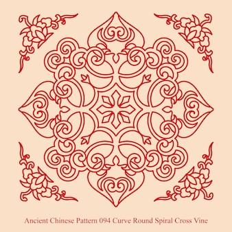 곡선 둥근 나선형 십자가 덩굴의 고대 중국 패턴