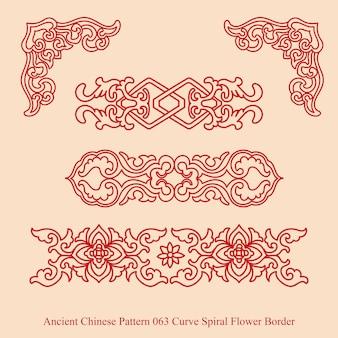 곡선 나선형 꽃 테두리의 고대 중국 패턴
