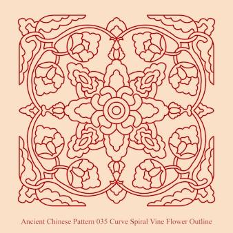 곡선 나선형 덩굴 꽃 개요의 고대 중국 패턴