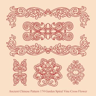 정원 나선형 포도 나무 십자가 꽃의 고대 중국 패턴