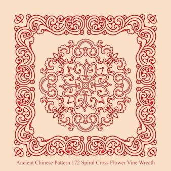 나선형 십자가 꽃 덩굴 화환의 고대 중국 패턴