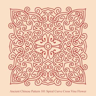 나선형 곡선 크로스 덩굴 꽃의 고대 중국 패턴