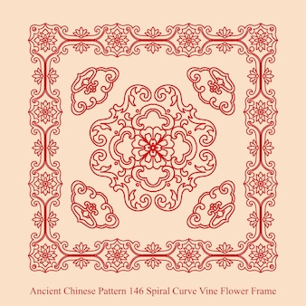나선형 곡선 덩굴 꽃 프레임의 고대 중국 패턴