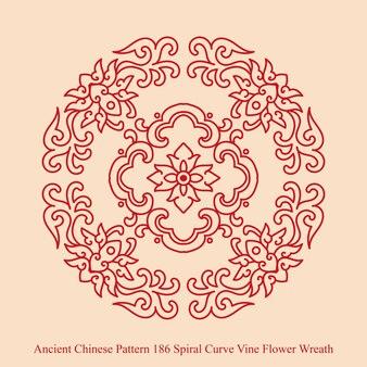 나선형 곡선 덩굴 꽃 화환의 고대 중국 패턴