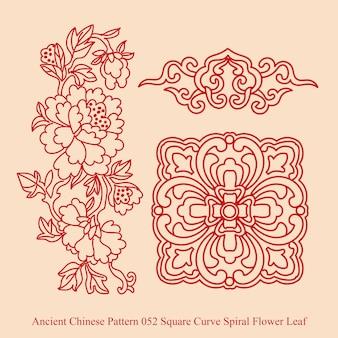 사각형 곡선 나선형 꽃 잎의 고대 중국 패턴
