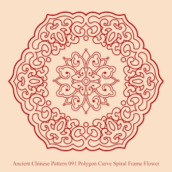 Ancient chinese pattern of polygon curve spiral frame flower