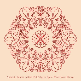 Ancient chinese pattern of polygon spiral vine gourd flower