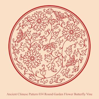Ancient chinese pattern of round garden flower butterfly vine