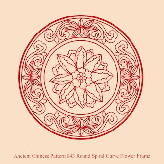 Ancient chinese pattern of round spiral curve flower frame