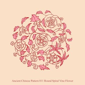 Ancient chinese pattern of round spiral vine flower