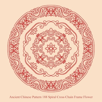 Ancient chinese pattern of spiral cross chain frame flower
