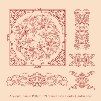 Ancient chinese pattern of spiral curve border garden leaf