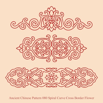 Ancient chinese pattern of spiral curve cross border flower Premium Vector