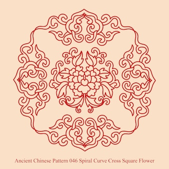 Ancient chinese pattern of spiral curve cross square flower