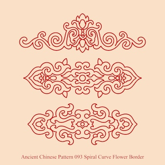 Ancient chinese pattern of spiral curve flower border