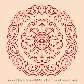 Ancient chinese pattern of spiral curve round frame flower