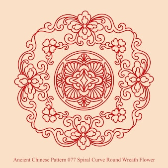 Ancient chinese pattern of spiral curve round wreath flower