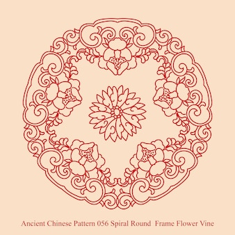 Ancient chinese pattern of spiral round  frame flower vine