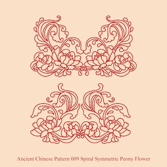 Ancient chinese pattern of spiral symmetric peony flower