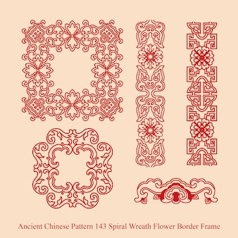Ancient chinese pattern of spiral wreath flower border frame