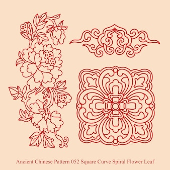 Ancient chinese pattern of square curve spiral flower leaf