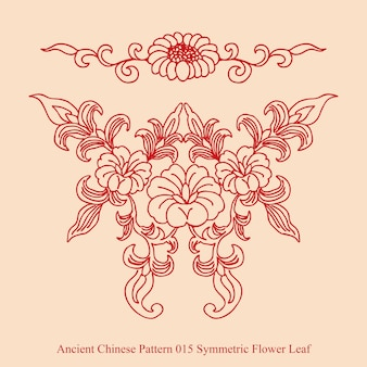 Ancient chinese pattern of symmetric flower leaf