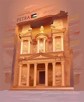 ペトラヨルダンアルカズネの古代都市財務省の観光名所
