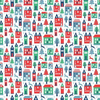 Ancient city seamless color pattern with old buildings for wallpaper or background design on white.