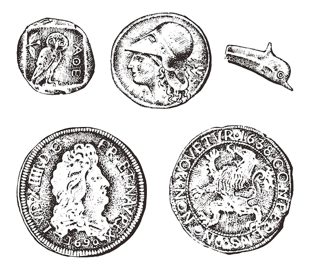 Ancient coins or gold and silver money. roman and greek cash reward. engraved hand drawn in old sketch, vintage style.