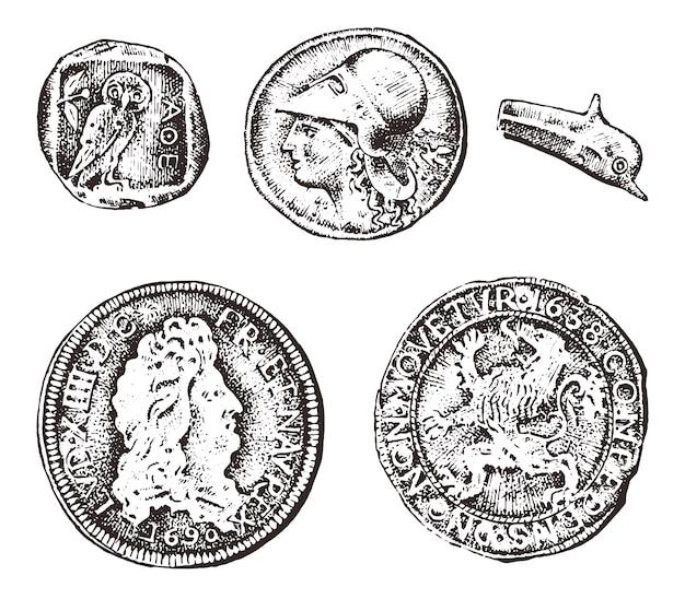 고대 동전 또는 금은 돈. 로마와 그리스 현금 보상. 오래 된 스케치, 빈티지 스타일에 그려진 새겨진 손.