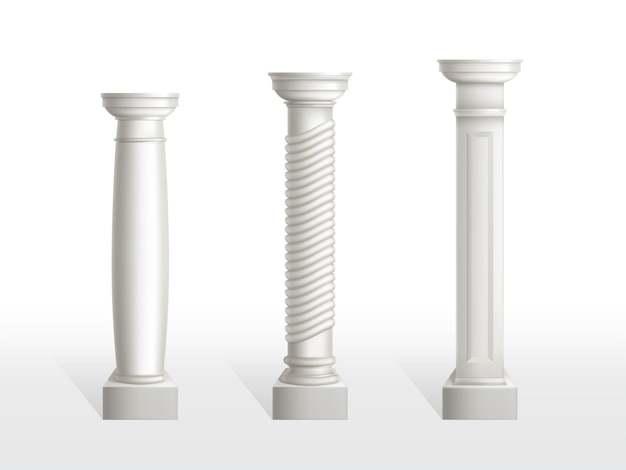 Ancient columns set isolated. antique classic stone ornate pillars of roman or greece architecture for interior or facade. joinery vintage elements realistic 3d vector illustration