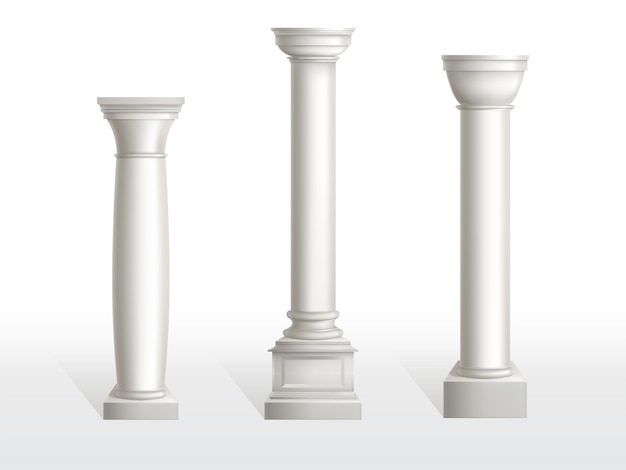 Ancient columns set isolated on white background.