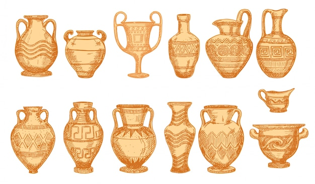 Ancient decorative pots isolated on white