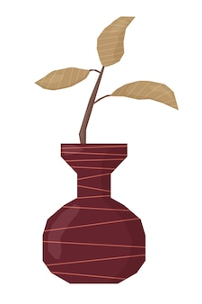 Ancient decorative vase with abstract boho branch in doodle style flat vector illustration