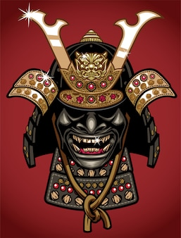 Ancient detailed style illustration of samurai helmet