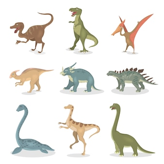 Ancient dinosaurs set. all kinds of cartoon creatures.