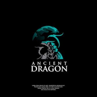 Ancient dragon logo illustration