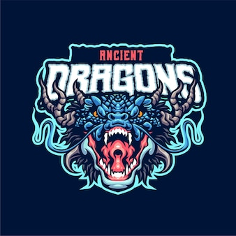Ancient dragon mascot logo template