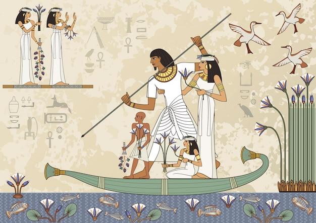 古代エジプトのバナー。エジプトの象形文字と記号。古代エジプトのシーンの壁画。