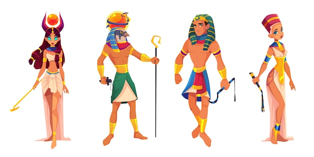 Dèi e sovrani dell'antico egitto hathor, ra, faraone, nefertiti, divinità egizie, re e regina con attributi di religione