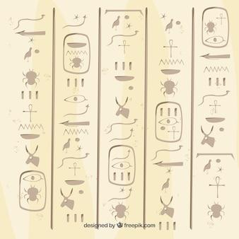 Древний египетский иероглифический фон с плоским дизайном