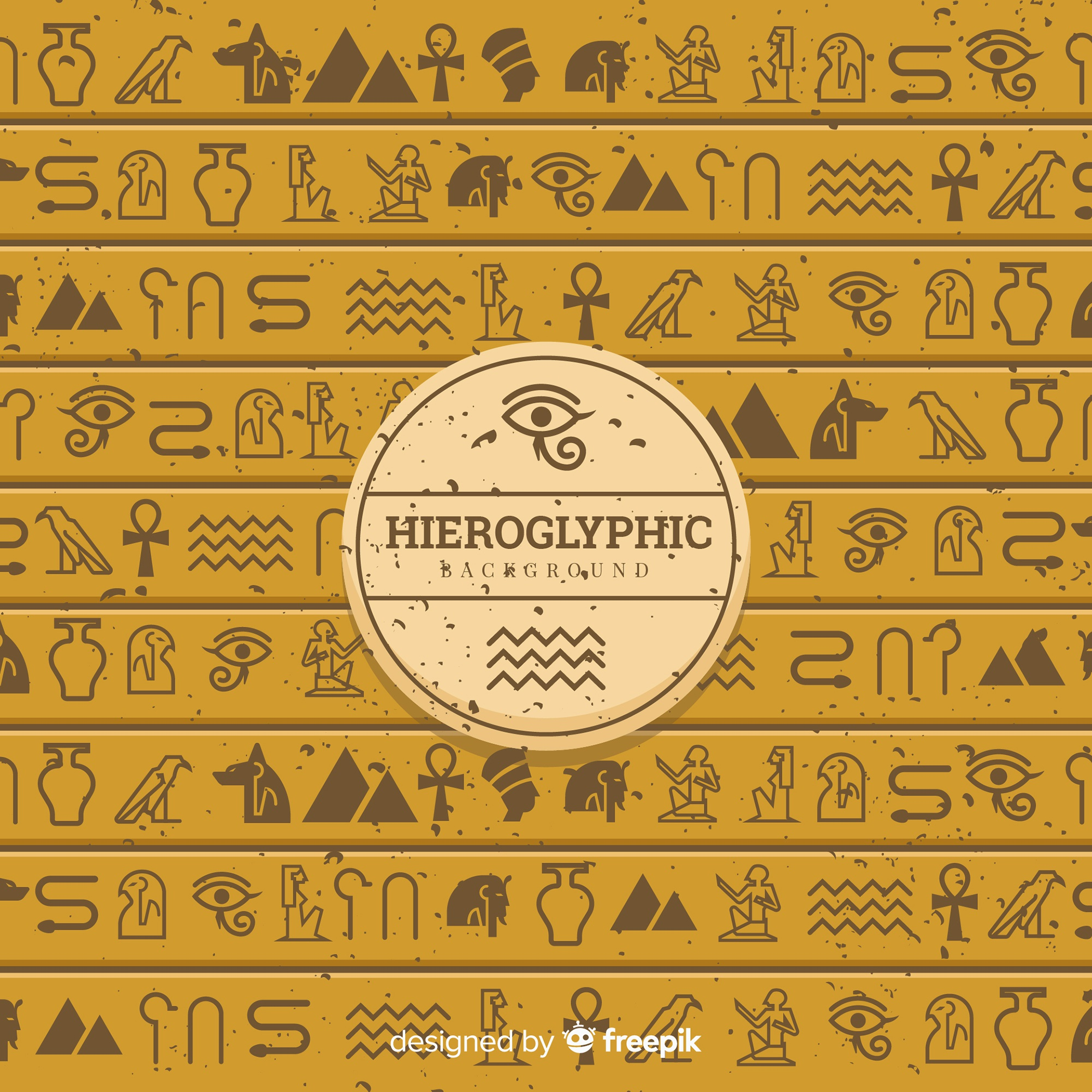 Ancient egypt hieroglyphics background with flat design