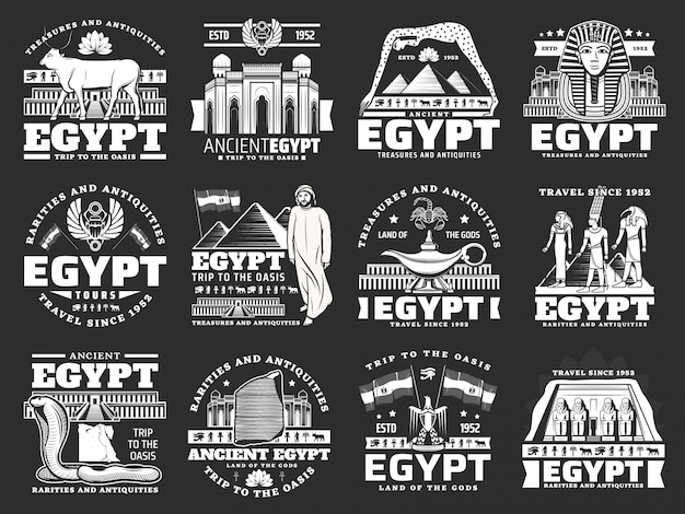 Ancient egypt icons, travel landmarks and tourism