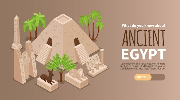 Ancient egypt isometric horizontal landing page