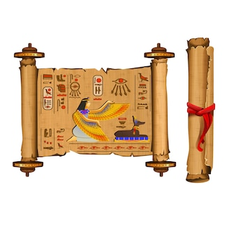 象形文字とエジプトの文化を持つ古代エジプトパピルススクロール漫画ベクトルコレクション