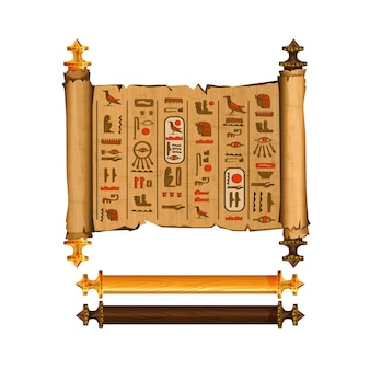 Ancient egypt papyrus scroll cartoon vector collection with hieroglyphs and egyptian culture