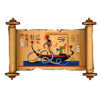 Ancient egypt papyrus scroll cartoon