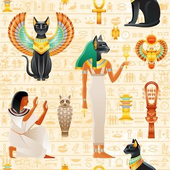 古代エジプトのシームレスなパターン。猫バステットの女神。古いファラオシンボルの背景。スカラベの羽と金のネックレス、奴隷、瘻孔を持つ黒い猫。