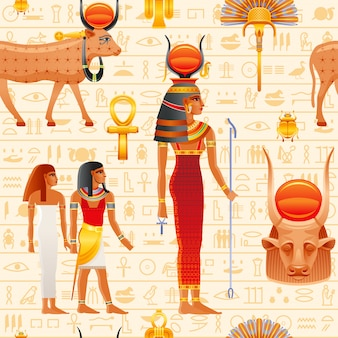 Древний египет бесшовные модели. корова хатор богиня. старый фараон небо божество с солнцем, коровьи рога. древнеегипетское искусство.